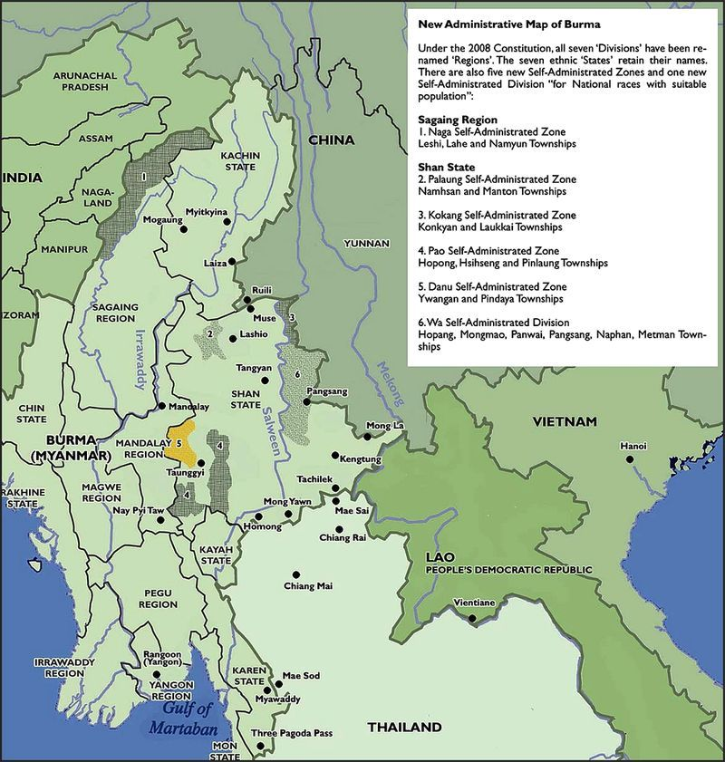 New Administrative map of Myanmar