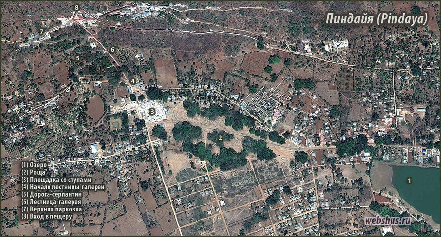 Пещерный буддистский храм Пиндая (Pindaya cave) - area map